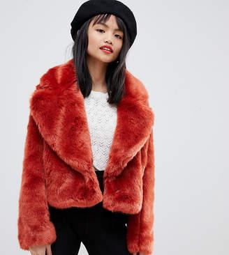 Lost Ink Petite cropped jacket in faux fur