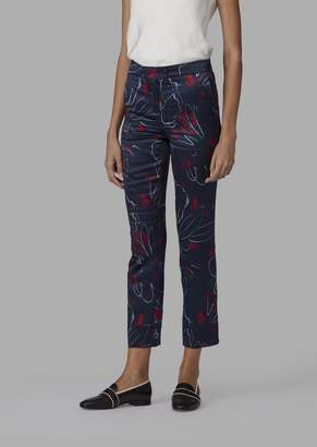 Giorgio Armani Slim-Fit Cupro Trousers With Abstract Floral Pattern