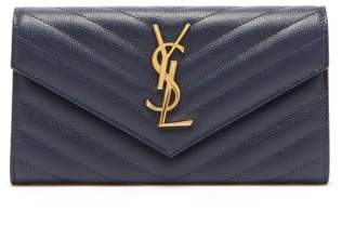 Saint Laurent Monogram Quilted Pebbled Leather Wallet - Womens - Navy