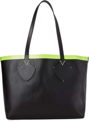 Burberry Black & Neon Yellow Giant Reversible Tote