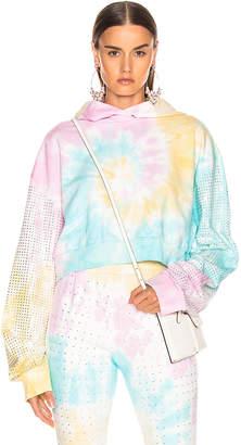 Frankie B. Kylie Crystal Crop Hoodie in Tie Dye   FWRD