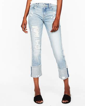 Express Mid Rise Stretch+ Performance Cuffed Cropped Skinny Jeans
