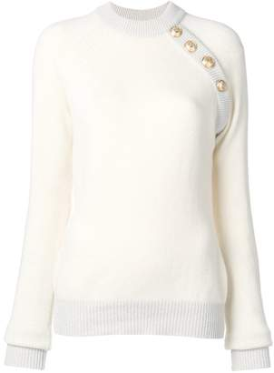 Balmain Raglan sleeve gold button sweatshirt