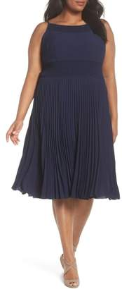 Maggy London Pleated & Smocked Crepe A-Line Dress