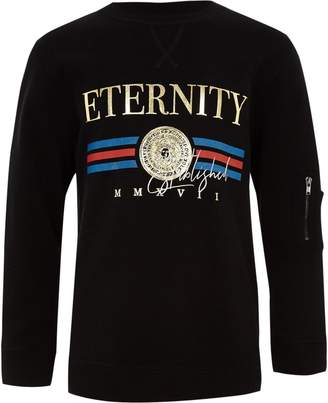 River Island Boys black 'eternity' foil print sweatshirt