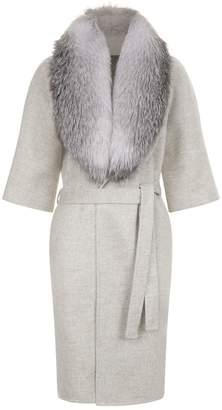 Lilly E Violetta 3⁄4 Sleeve Fox Fur Collar Coat