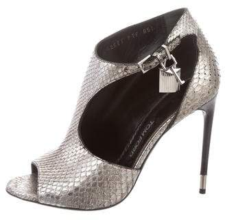 Tom Ford Snakeskin Cutout Booties