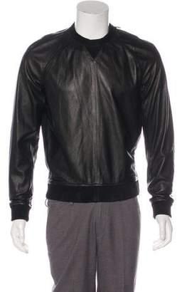 DSQUARED2 Lambskin Leather Zip Accented Sweatshirt