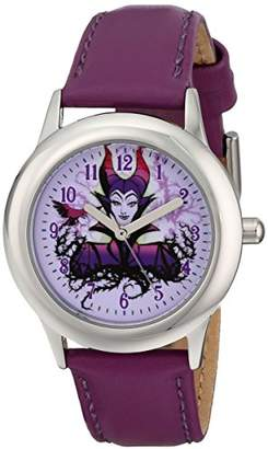 Disney Kids' W001652 Maleficent Stainless Steel Watch with Leather Band