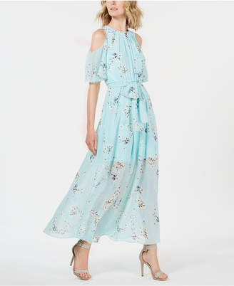 Calvin Klein Petite Floral-Print Cold-Shoulder Maxi Dress