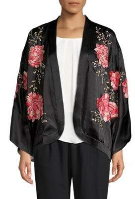 Josie Silk Open Front Embroidery Wrap