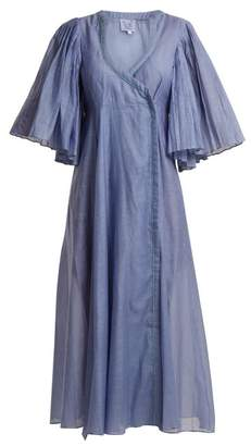 Thierry Colson Sultane Cotton And Silk Blend Wrap Dress - Womens - Blue