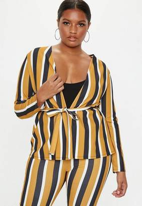 503193b7735 Missguided Plus Size Mustard Stripe Blazer Jacket