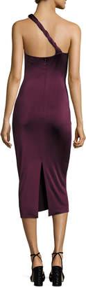 Cushnie et Ochs Twist-Strap One-Shoulder Cocktail Dress, Maroon