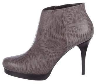 Balenciaga Lizard Round-Toe Ankle Boots