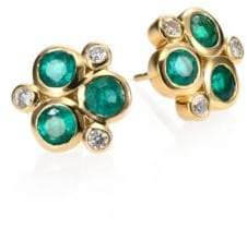 Temple St. Clair Classic Color Emerald, Diamond& 18K Yellow Gold Trio Earrings