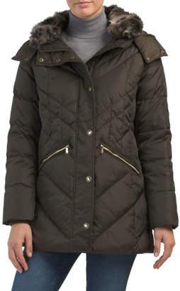 Down Faux Fur Collar Jacket