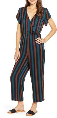 Madewell Stripe Short Sleeve Wrap Jumpsuit
