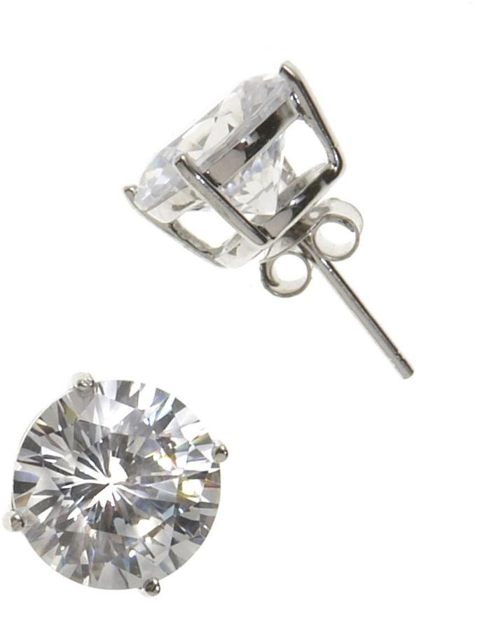 Dillard's sterling collection 10mm cz earrings
