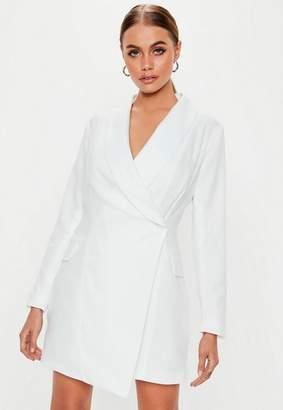 Missguided Tall White Asymmetric Blazer Dress
