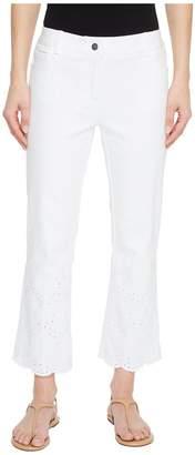 Elliott Lauren Five-Pocket Crop Jeans with Eyelet Hem in White Women's Jeans