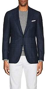 Canali Men's Plaid Wool Two-Button Sportcoat-Blue