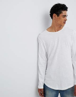Esprit Longline Longsleeve T-Shirt With Curved Hem In White