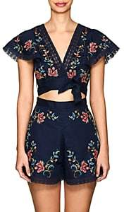 Zimmermann Women's Laelia Floral Cross-Stitched Linen-Cotton Crop Top-Navy