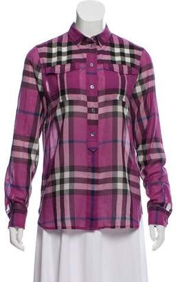 Burberry Plaid Button-Up Top