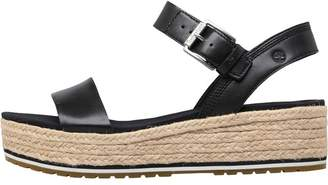 Timberland Womens Santorini Sun Ankle Strap Wedge Sandals Black