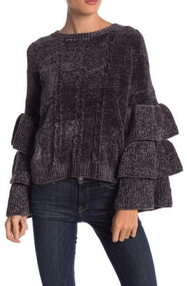 Elan International Charcoal Ruffle-Tiered Sweater