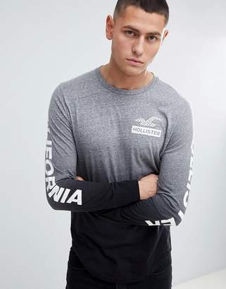 Hollister Back Print And Sleeve Logo Ombre Wash Long Sleeve Top In Grey To Black