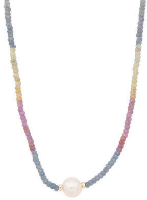 Made In Usa 14k Gold Multicolor Sapphire And Pearl Necklace