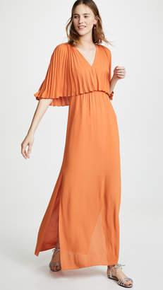 Halston Flowy Pleated Sleeve V Neck Dress