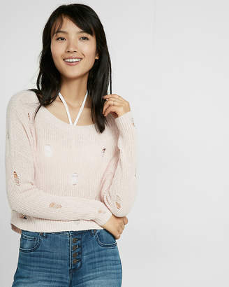 Express Destroyed Knit Sweater