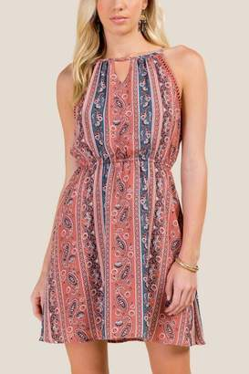 francesca's Amina High Neck A-Line Dress - Rose
