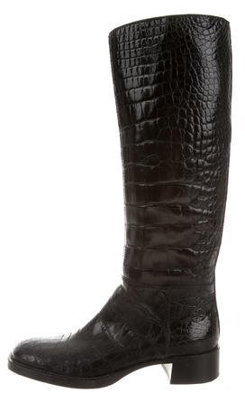pradaPrada Crocodile Knee-High Boots