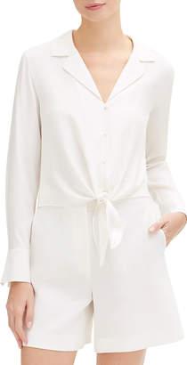 Lafayette 148 New York Miley Long-Sleeve Tie-Front Matte Silk Blouse