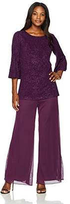 Alex Evenings Women's 2-Piece Pantsuit with Bell Sleeve Tunic Blouse