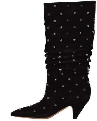 Valentino Black Mid-calf Rockstud Boots