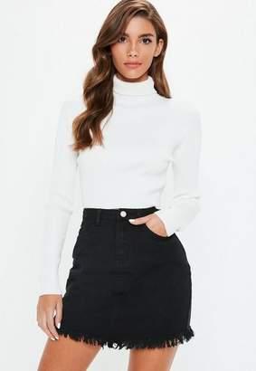 Missguided Black Denim Asymmetric Frayed Hem Mini Skirt
