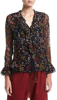 See by Chloe Ruffled Floral-Print Silk Top