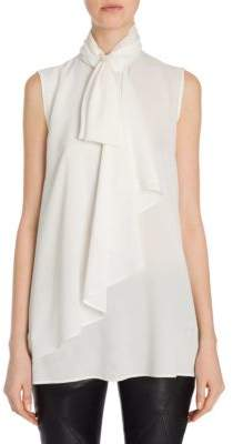 Alexander McQueen Heavy Georgette Bow Top