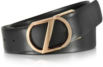 Ermenegildo Zegna Black Leather Reversible & Adjustable Belt w/Rose Gold-tone Signature Buckle