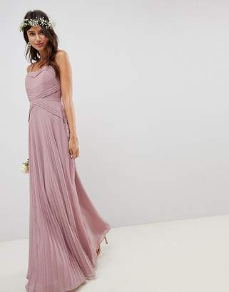0c178b565ba3 Asos Design DESIGN Pleated Panelled Cami Maxi Dress With Lace Inserts