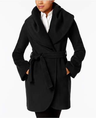 T Tahari Marla Shawl-Collar Wrap Coat $400 thestylecure.com