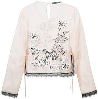 Alberta Ferretti sheer embellished tulle blouse