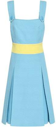 Emilio Pucci Pleated Cotton, Wool And Silk-blend Matelasse Dress