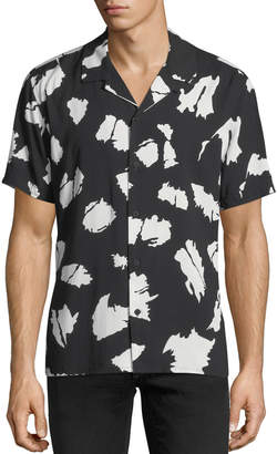 Neiman Marcus Splatter-Paint Short-Sleeve Sport Shirt