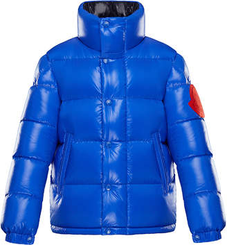 Moncler Dervaux Stand-Collar Quilted Jacket w/ Contrast Logo, Size 4-6